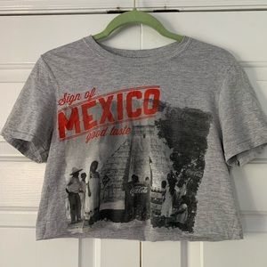 Coca Cola Mexico Cropped Tee Gray/Red/Black sz Sm